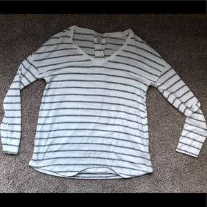 Sweaters - Grey and White Striped Lightweight Sweater